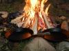 Eld och stekpannor för att göra krabbelurer